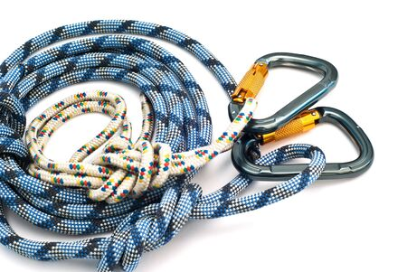 rapell: Isolated new climbing equipment - carabiners without scratches and blue rope