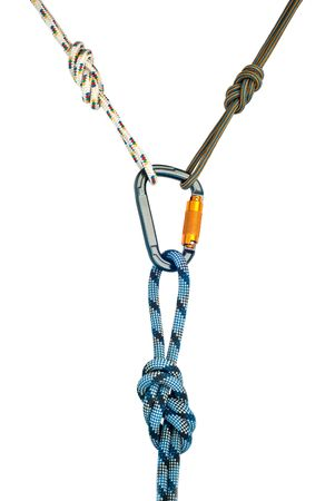 carabiner: Isolated new climbing equipment - carabiner without scratches and blue rope Stock Photo
