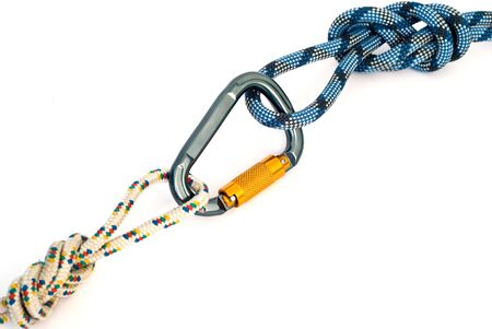 Isolated new climbing equipment - carabiners without scratches and blue rope Stock Photo - 5616076