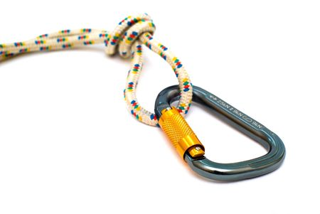 alpinism: isolated alpinism carabiners and rope