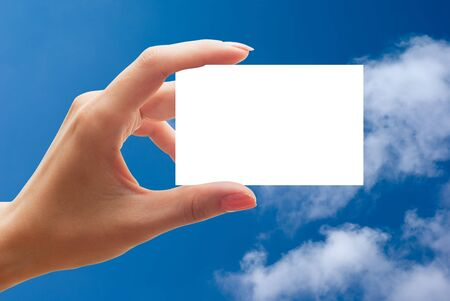 empty business card in a hand Stock Photo - 5637486