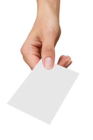 isolated empty business card in a womens hand