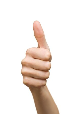 isolated women's hand showing thumbs up sign Stock Photo - 5637445