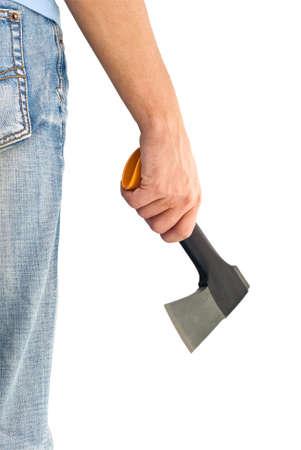 hatchet: man holding axe Stock Photo