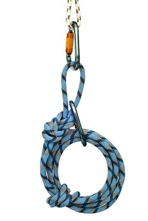 climbing sport: Isolated new climbing equipment - carabiners without scratches and blue rope