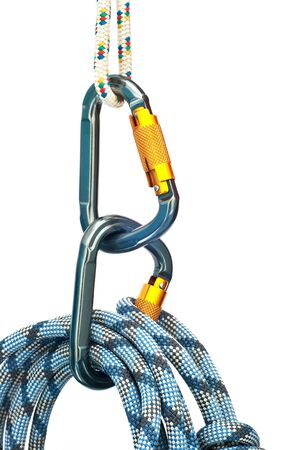 Isolated new climbing equipment - carabiners and blue rope photo