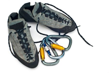 rapell: climbind equipment - carabiners and climbing shoes