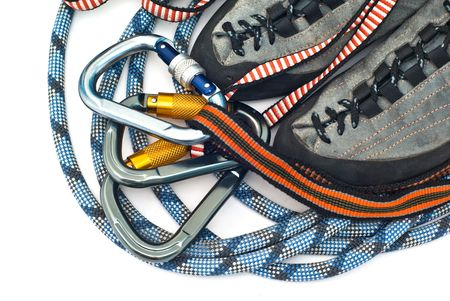 climbind equipment - carabiners, ropes and climbing shoes photo