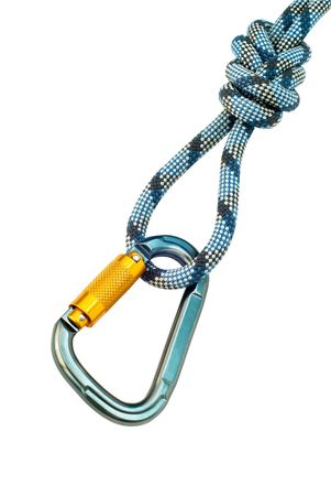 Isolated new climbing equipment - carabiner without scratches and blue rope Standard-Bild