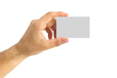 isolated empty business card in a human hand Stock Photo - 5859262