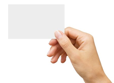 isolated empty business card in a women's hand Standard-Bild