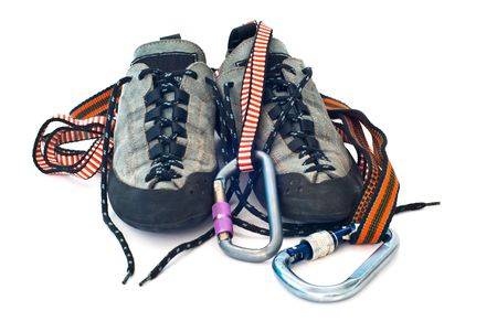 climbind equipment - carabiners, ropes and climbing shoes Stock Photo - 5859266
