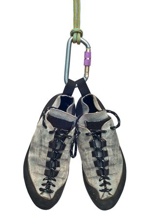 climbing shoes, carabiner and rope Stock Photo - 5859291
