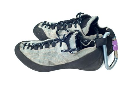 rapell: climbind equipment - carabiner and climbing shoes