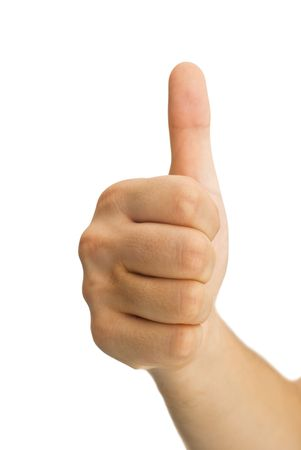 male's thumb: Thumbs up on a blured background