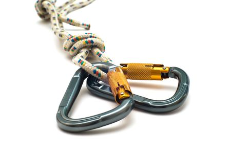 Isolated new climbing equipment - carabiner without scratches and blue rope Stock Photo - 6080536