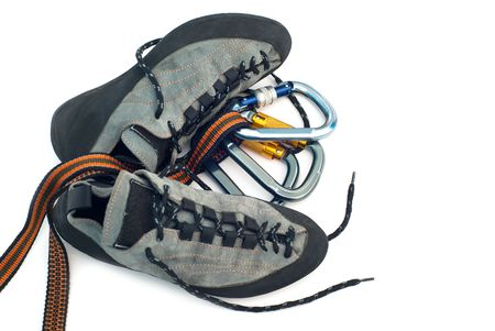 climbind equipment - carabiners and climbing shoes Stock Photo - 6080540