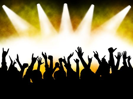 hands at the concert, silhouettes against stage lighting Standard-Bild