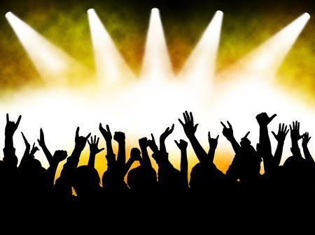 aplaudiendo: manos en el concierto, siluetas contra la iluminación de la etapa  Foto de archivo