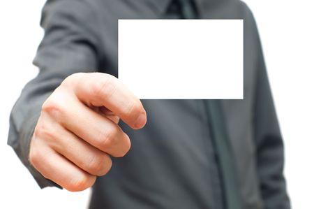 Businessmen in the dark shirt holding business card
