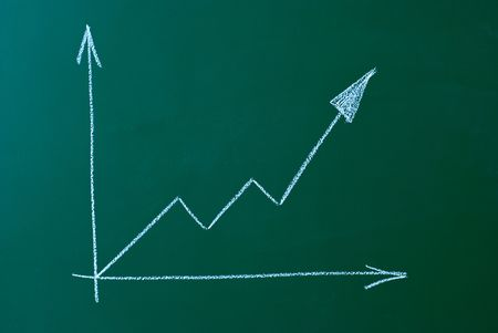 business chart on a green blackboard symbolizing growth