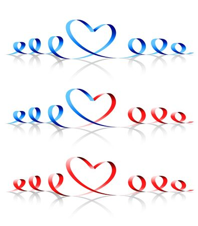 Heart shape from ribbon decoration Standard-Bild