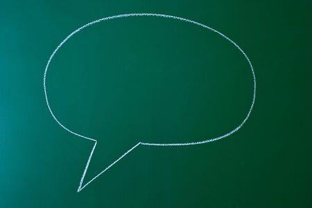 Speech bubble on a green blackboard photo