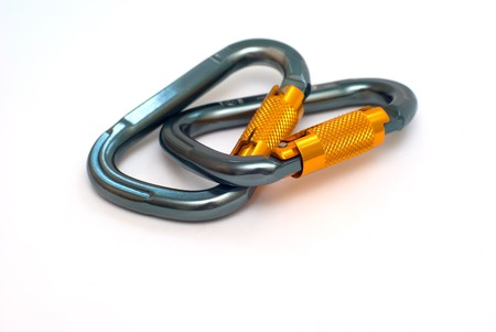 alpinism: isolated two alpinism carabiners