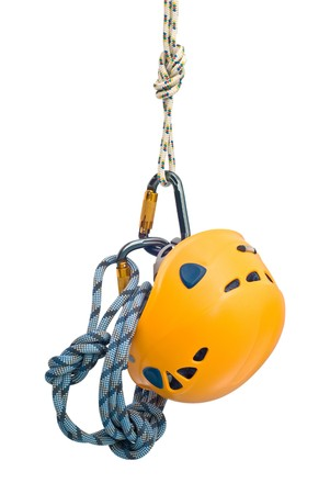 belaying: Isolated new climbing equipment - carabiners without scratches, yellow helmet and rope