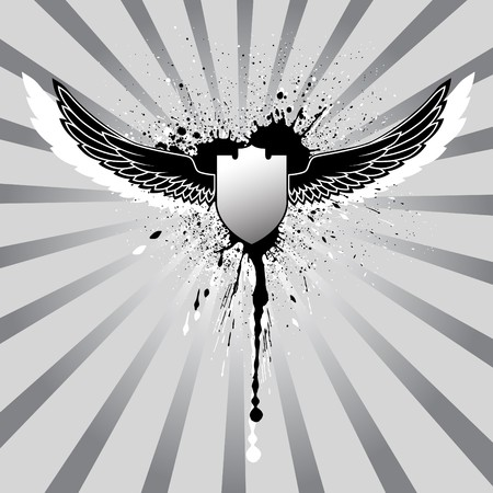 grunge black and white illustration, wings and shield illustration