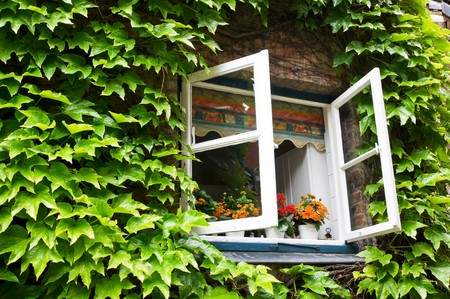 open window in rural house Standard-Bild