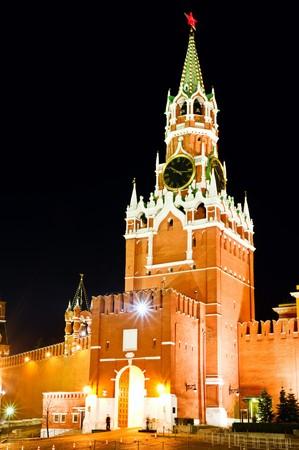 Moscow Kremlin. Spasskaya tower with ruby star. Russia photo