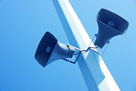 surround system: loudspeakers on a blue sky background