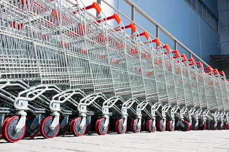 ���push cart���: shopping carts Stock Photo