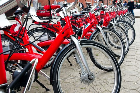 parking of the red bicycles in Europe photo