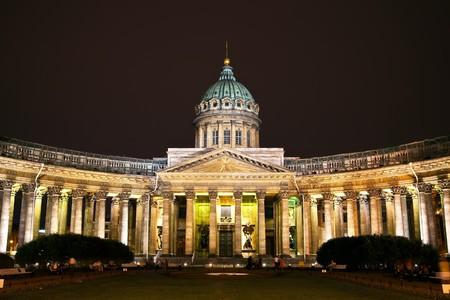 sobor: Kazan Cathedral or Kazanskiy Kafedralniy Sobor in St. Petersburg by night