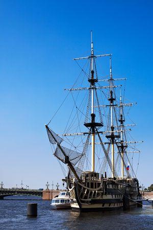 Sailing vessel on Neva river in St. Petersburg photo