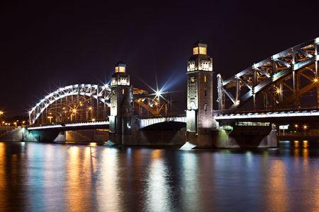 Bolsheohtinskiy bridge by night in St. Petersburg. Russia Stock Photo