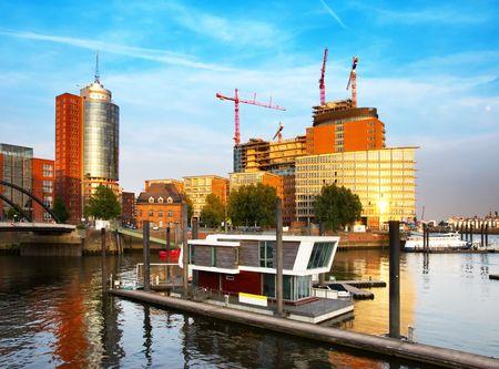 Modern building on sunset in Hamburg. Germany