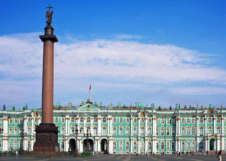 Winter Palace and  Alexander Column on  Palace Square in St. Petersburg/ Dvortsovaya Ploshchad in St. Petersburg Editorial