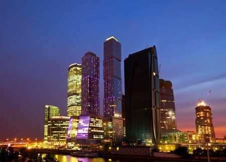 Skyscrapers in a business center at night Stock Photo - 7626933