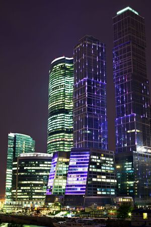 Skyscrapers in a business center at night