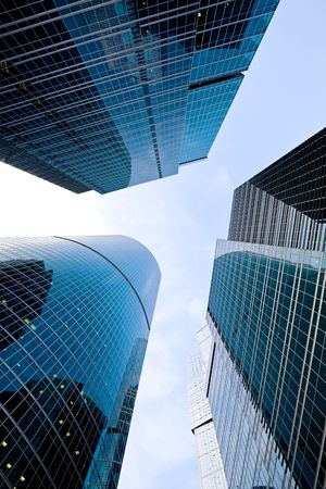 Contemporary skyscrapers in business centre Stock Photo
