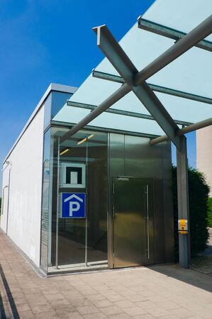 modern exit from parking - elevator photo