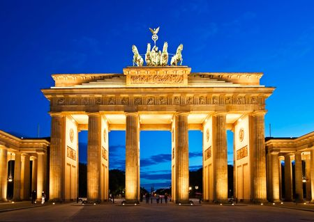 brandenburg: Brandenburg Gate in Berlin at night. Germany. Stock Photo