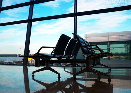 airport interior at morning Standard-Bild