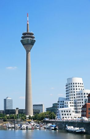 Media Port (Medienhafen) and Rheinturm tower Dusseldorf Stock Photo - 7800086