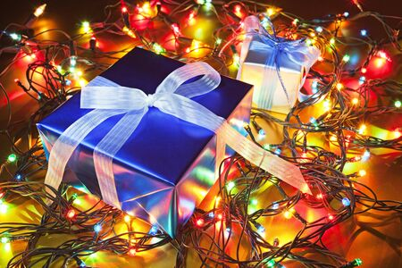 Close-up of the Christmas gifts