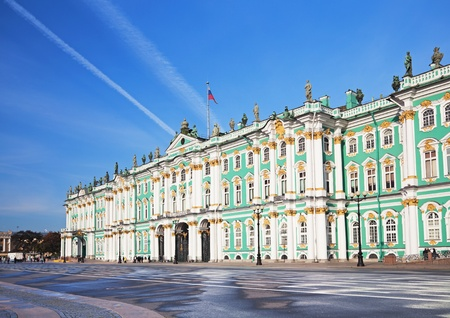Winter Palace and  Alexander Column on  Palace Square in St. Petersburg/ Dvortsovaya Ploshchad in St. Petersburg Stock Photo - 8350504