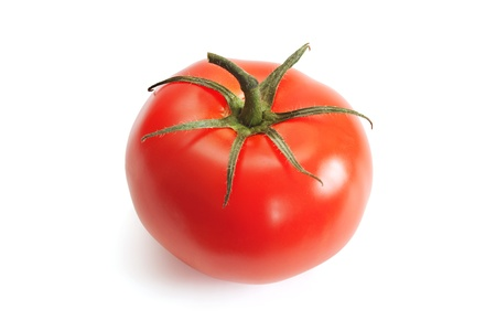 red tomato on the white background photo